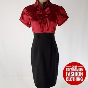 Roulette | Red Ruffle Satin w/Pencil Dress (8)